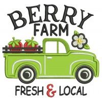 Berry Farm Fresh And Local Truck With Strawberries Applique Machine Embroidery Design Digitized Pattern