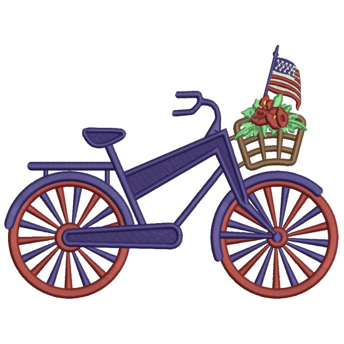 Big Bicycle With Flowers And American Flag Patriotic Filled Machine Embroidery Design Digitized Pattern