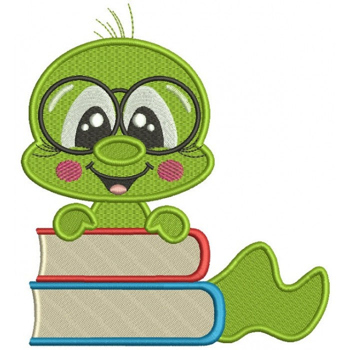 Bookworm With Books Filled Machine Embroidery Design Digitized Pattern