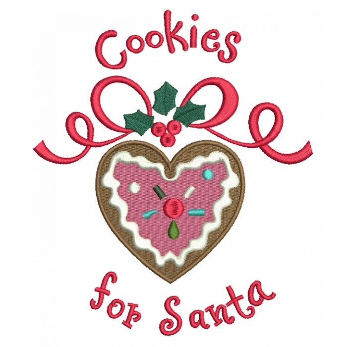 Cookies For Santa Christmas Filled Machine Embroidery Design Digitized Pattern