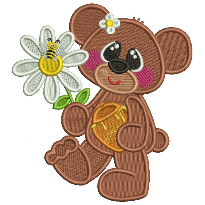 Cute Bear Holding Pot of Honey And a Flower With a Bee Filled Machine Embroidery Design Digitized Pattern