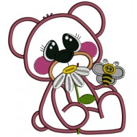Cute Bear With a Flower and a Bee Applique Machine Embroidery Design Digitized Pattern