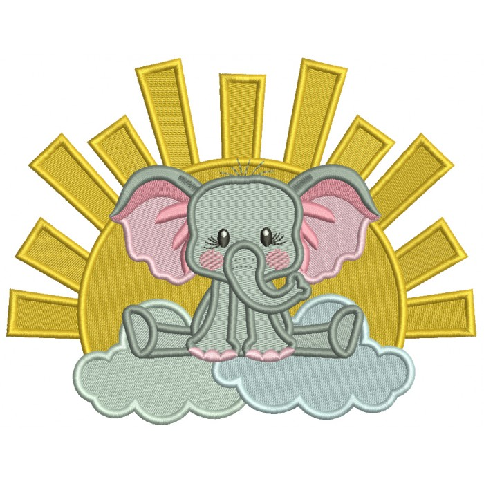 Cute Elephant Sitting On The Cloud Filled Machine Embroidery Design Digitized