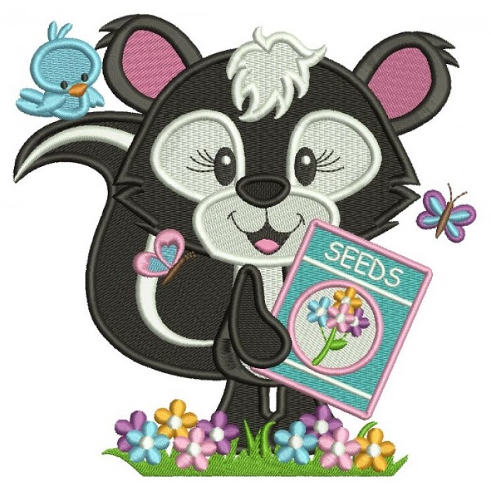 Cute Girl Skunk Planting Seeds Filled Machine Embroidery Design Digitized Pattern