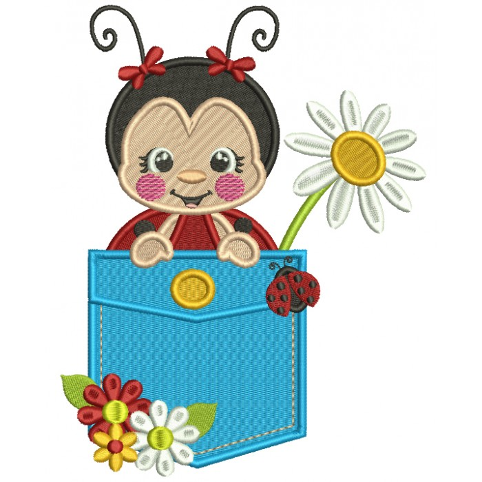 Cute Ladybug Inside The Pocket With a Daisy Flower Filled Machine Embroidery Design Digitized Pattern