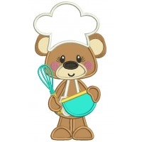 Cute Little Bear Cook Applique Machine Embroidery Digitized Design Pattern