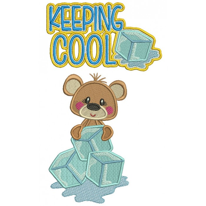 Cute Little Bear Holding Blocks Of Ice Keeping It Cool Filled Machine Embroidery Digitized Design Pattern