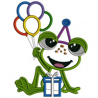 Cute Little Birthday Frog Holding Balloons Applique Machine Embroidery Design Digitized Pattern