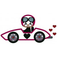 Cute Little Car Racer With Hearts Applique Valentine's Day Machine Embroidery Design Digitized Pattern