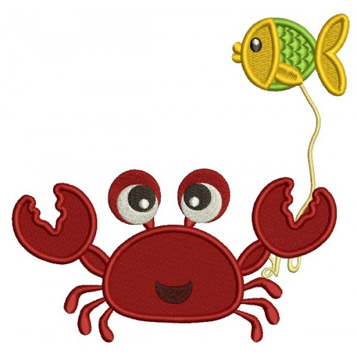 Cute Little Crab Holding a Fish Filled Machine Embroidery Design Digitized Pattern775
