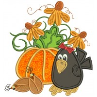 Cute Little Crow With Fancy Pumpkin Applique Machine Embroidery Design Digitized Pattern