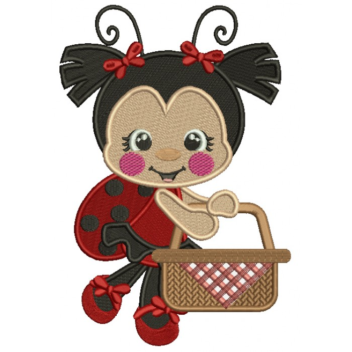 Cute Little Ladybug Holding a Basket Filled Machine Embroidery Design Digitized Pattern