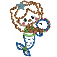 Cute Little Mermaid With a Star In Her Hair Applique Machine Embroidery Design Digitized Pattern