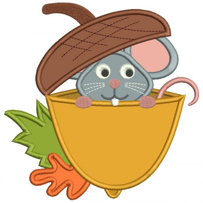 Cute Little Mouse Sitting Inside and Acorn Applique Machine Embroidery Design Digitized Pattern