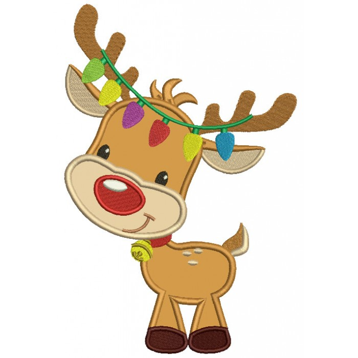Cute Reindeer With Christmas Lights Applique Machine ...