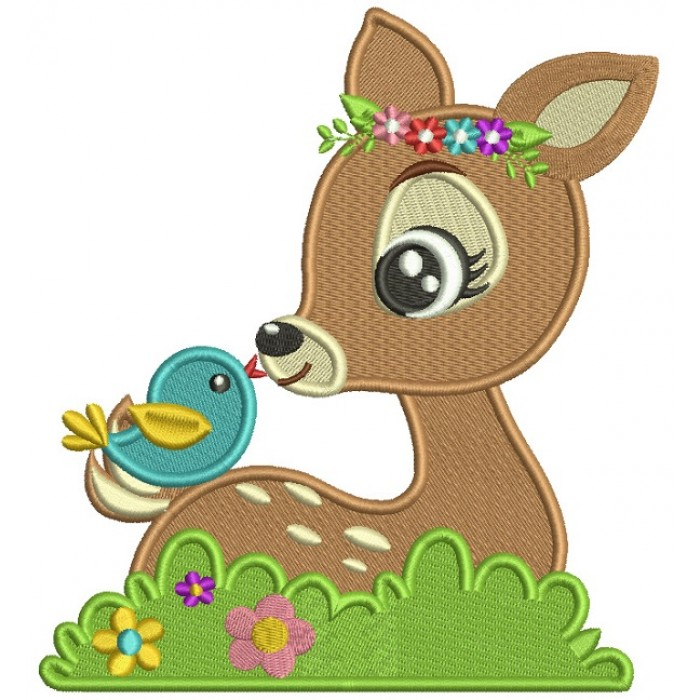 Cute Reindeer With a Bird Filled Machine Embroidery Digitized Design Pattern