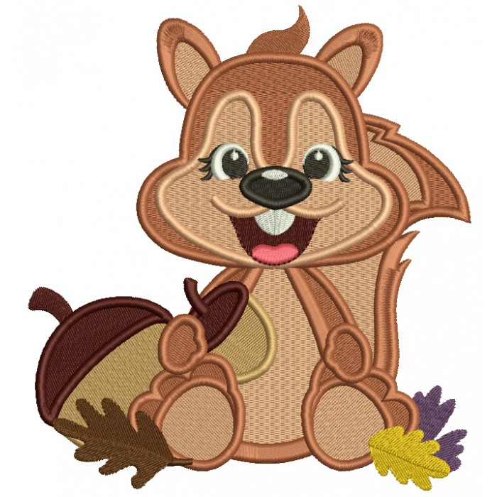 Cute Smiling Squirrel With Acorn And Leaves Fall Filled Thanksgiving Machine Embroidery Design Digitized Pattern