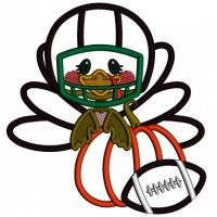 Cute Turkey Wearing Football Helmet Holding Pumpkin Applique Thanksgiving Machine Embroidery Design Digitized Pattern