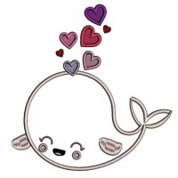 Cute Whale With Hearts Applique Machine Embroidery Design Digitized Pattern