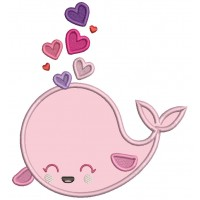 Cute Whale With Hearts Valentine's Day Applique Machine Embroidery Design Digitized Pattern