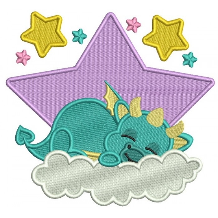Dragon Sleeping On The Cloud Filled Machine Embroidery Digitized Design Pattern