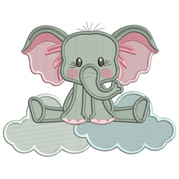 Elephant Sitting On The Cloud Filled Machine Embroidery Design Digitized