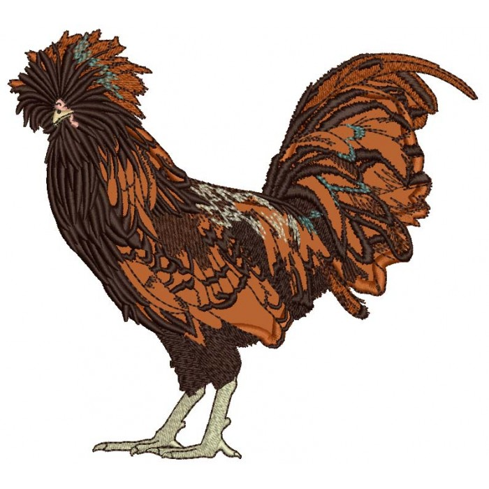 Fancy Brown Rooster Applique Machine Embroidery Design Digitized Pattern