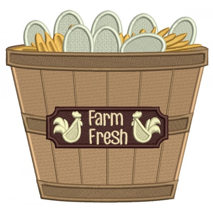 Farm Fresh Eggs In The Basket Fall Filled Machine Embroidery Design Digitized Pattern