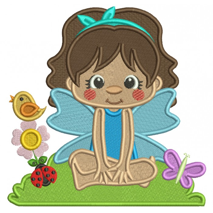 Flower Fairy With Flowers and a Bird Filled Machine Embroidery Design Digitized Pattern