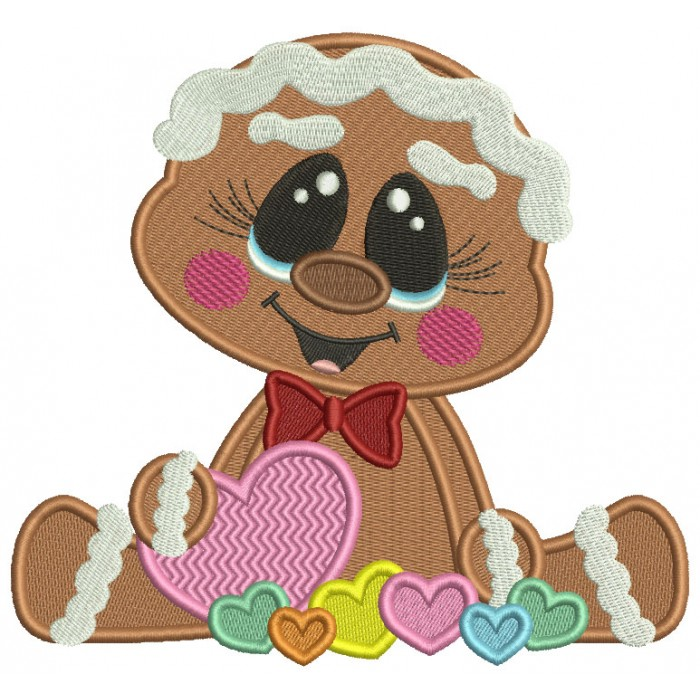 Gingerbread Girl Holding Heart Valentine's Day Filled Machine Embroidery Design Digitized Pattern