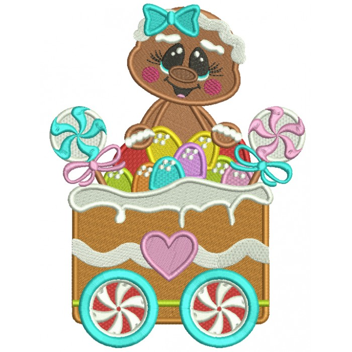 Gingerbread Girl Sitting Inside a Christmas Wagon Filled Christmas Machine Embroidery Design Digitized Pattern