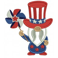 Gnome Holding Pinwheel 4th Of July Patriotic Applique Machine Embroidery Design Digitized Pattern
