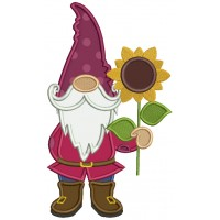 Gnome Holding Sunflower Applique Machine Embroidery Design Digitized Pattern