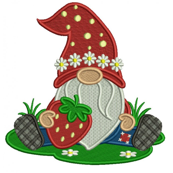 Gnome Holding a Strawberry Filled Machine Embroidery Design Digitized Pattern