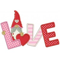 Gnome Love With Heart Valentine's Day Applique Machine Embroidery Design Digitized Pattern