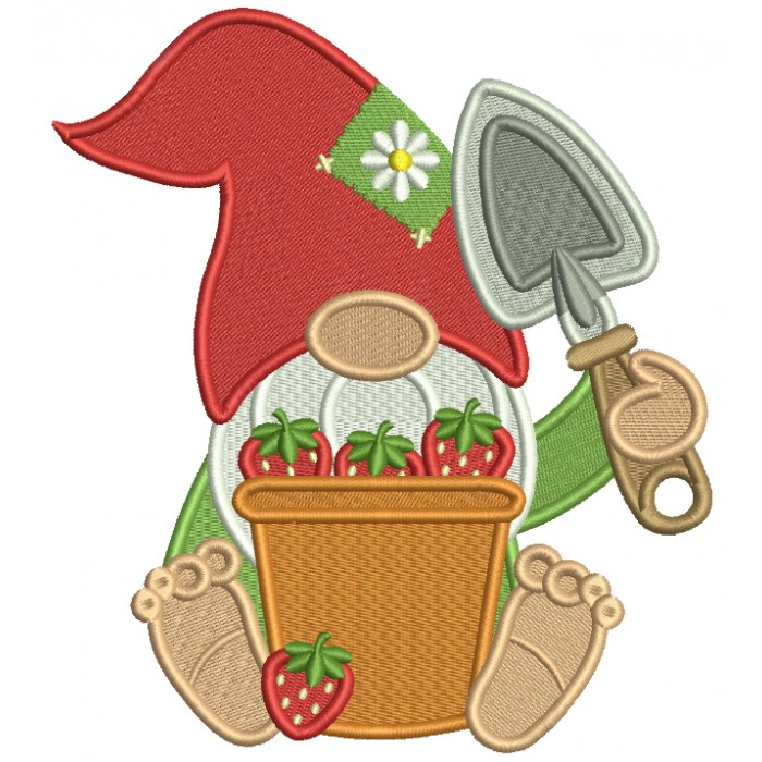 Gnome With a Bucket Full Of Strawberries And a Garden Trowel Filled Machine Embroidery Design Digitized Pattern
