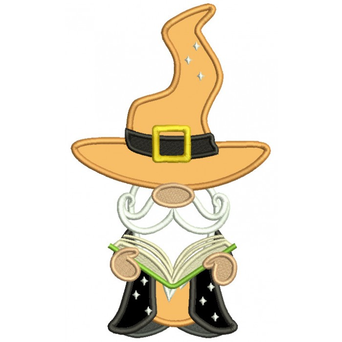 Gnome Wizard Reading a Book Halloween Applique Machine Embroidery Design Digitized Pattern