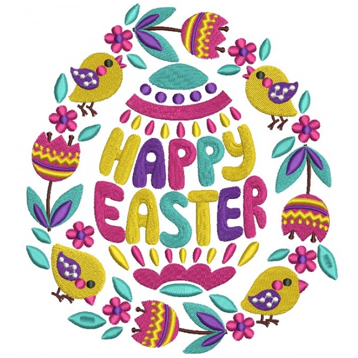 Happy Easter Ornate Egg And Birds Filled Machine Embroidery Design Digitized Pattern