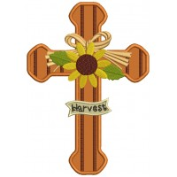Harvest Cross With Sunflower Thanksgiving Applique Machine Embroidery Design Digitized Pattern