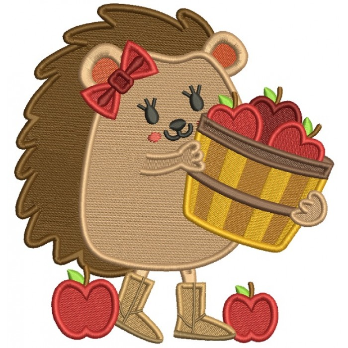 Hedgehog Holding Basket With Apples Thanksgiving Filled Machine Embroidery Design Digitized Pattern