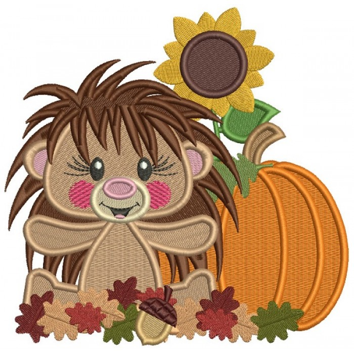 Hedgehog With Pumpkin and Sunflower Thanksgiving Filled Machine Embroidery Design Digitized Pattern
