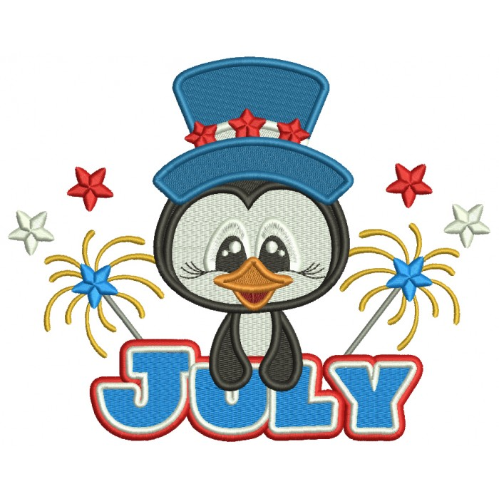 Independence Day 4th Of July Penguin And Fireworks Filled Machine Embroidery Design Digitized Pattern