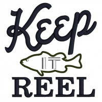 Keep It Reel Fish Applique Machine Embroidery Design Digitized Pattern