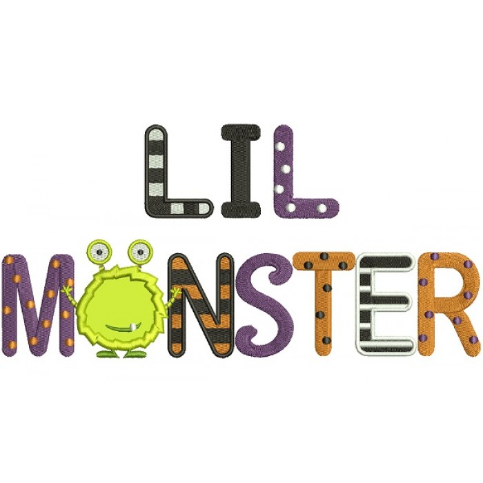 Lil Monster Applique Machine Embroidery Design Digitized Pattern