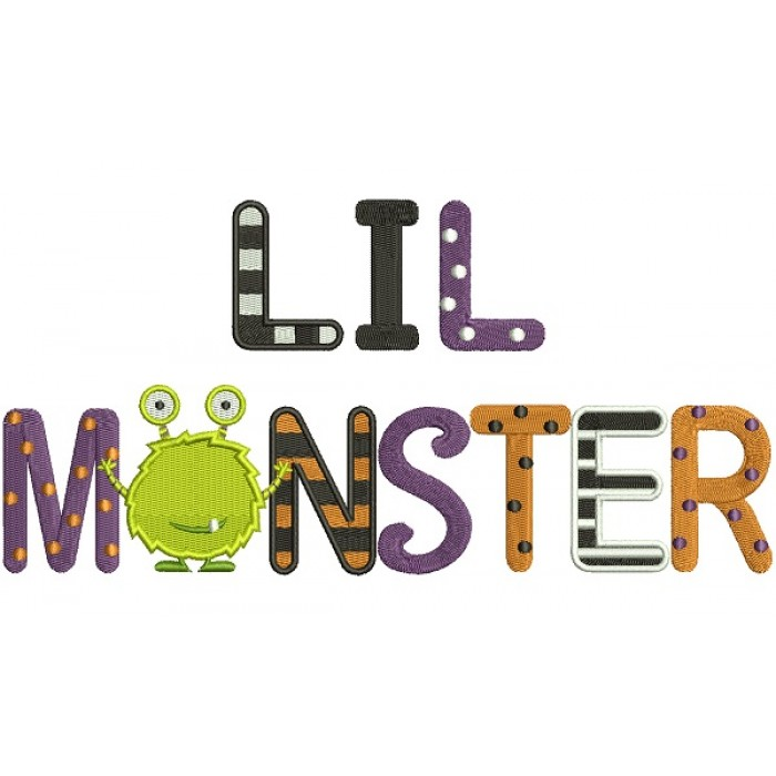 Lil Monster Filled Machine Embroidery Design Digitized Pattern