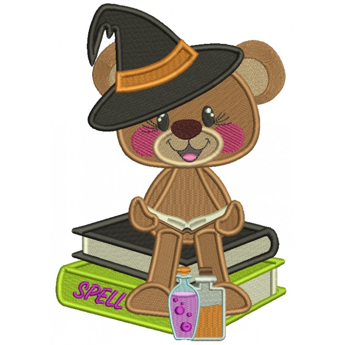 Little Bear Wizard With Spell Books Filled Halloween Machine Embroidery Design Digitized Pattern