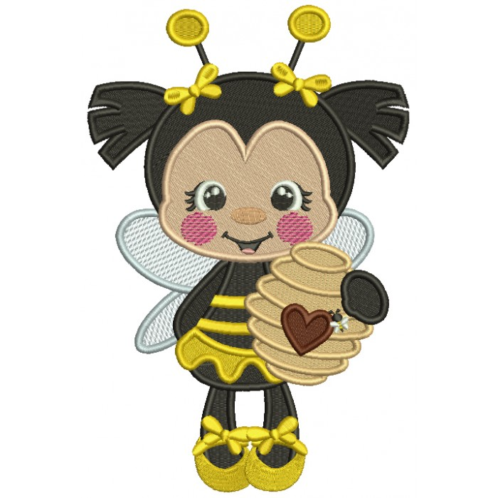 Little Bee Holding a Jar With Honey Filled Machine Embroidery Design Digitized Pattern