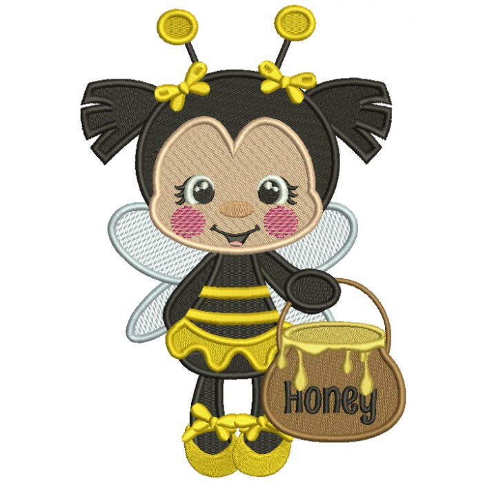 Little Bee Holding a Pot Of Honey Filled Machine Embroidery Design Digitized Pattern