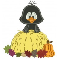 Little Crow Sitting On Hay With Leaves Thanksgiving Applique Machine Embroidery Design Digitized Pattern