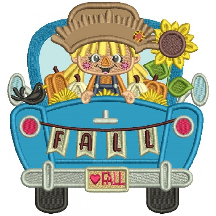 Little Farm Girl Sitting In The Back Of The Car With Pumpkins and Flowers Applique Machine Embroidery Design Digitized Pattern